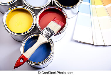 Color swatch - Cans and paint on the colourful background