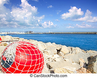fishing buoy with net in formentera port