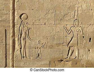 relief at the Esana temple in Egypt - architectural detail...