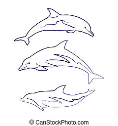 Dolphin silhouettes drawn