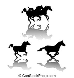 Horses silhouettes - Running horses