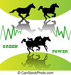 Running horses on green background, Eco Power