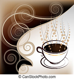 Cup of coffee, illustration on white gradient background