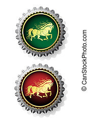 Bottle caps with gold horse