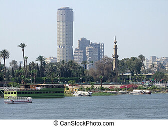 Nile scenery in Cairo - riverside Nile scenery in Cairo...