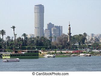 Nile scenery in Cairo - riverside Nile scenery in Cairo...