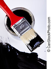 Paint and cans - Cans and paint and brushes on the Colorful...