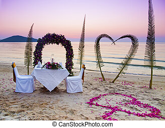 Romantic dinner on a beach
