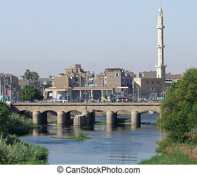 Nile and Esna - city named Esna in Egypt, with river Nile...