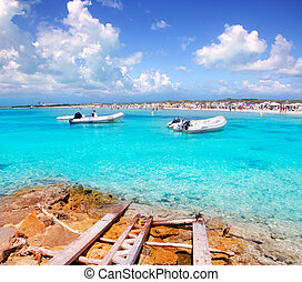 Illetes beach in Formentera island in summer vacation