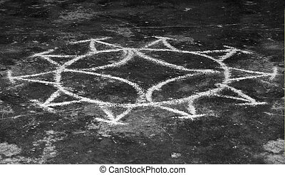 voodoo circle painted on the ground, seen at the Dominican...