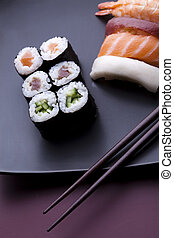 Set of sushi - Japanese sushi seafood rolls with rice