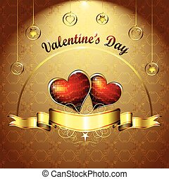 Valentine's day, illustration with hearts of love