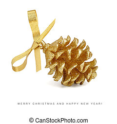Christmas card - golden pinecone with bow isolated on white...