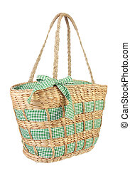 Eco friendly wicker shopping bag made of natural material in...