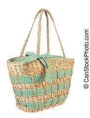 Eco, amistoso, mimbre, compras, bolsa, hecho, natural,...