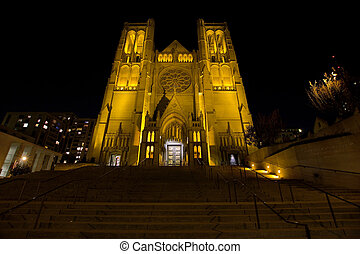 Steps to Grace Cathedral in San Francisco at Night