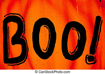 Halloween Boo Sign - Orange Halloween sign with the word boo...