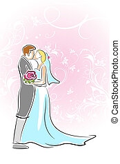 Kissing Couple - illustration of kissing couple on floral...