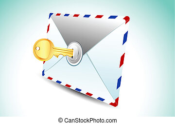 Locked Envelope - illustration of locked envelope with key...