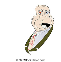 Disapproving Old Man Vector - Disapproving Old Man with Copy...