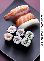 Japan rolls - Japanese sushi seafood rolls with rice