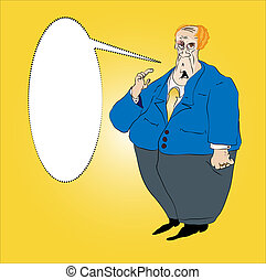 Fat Short Man in a Blue Suit Vector