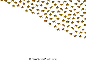 Gold stars on white background - Closeup of many golden...