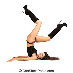 Sexy woman practicing yoga Wears beautiful boots isolated on...