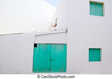 White house with green door in Formentera