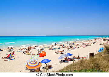 Formentera migjorn Els Arenals beach in summer vacation at...