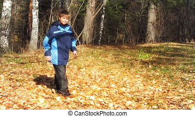 boy going in autumn garden