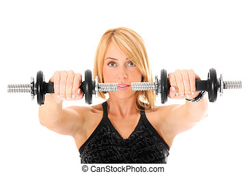 Dumb-bells - A picture of a young pretty girl shaping her...