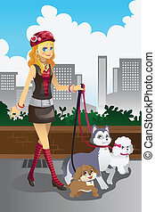 Girl walking her dogs - A vector illustration of a beautiful...