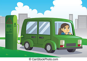 Electric car charging - A vector illustration of an electric...