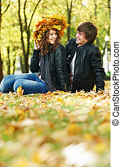 Couple at autumn outdoors
