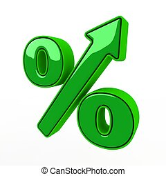 The green sign of percent designating increase