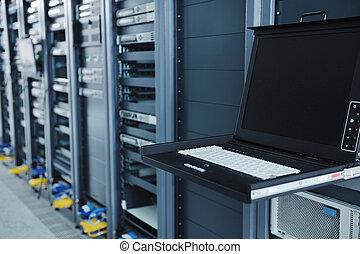 network server room with computers for digital tv ip...