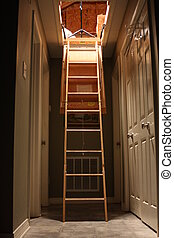 Indoor Ladder - Photo of an attic ladder