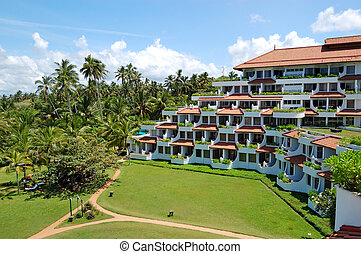 The luxury hotel and green lawn, Bentota, Sri Lanka