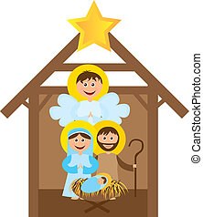 Christmas nativity scene with holy family isolated. vector