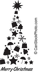 silhouette tree christmas - black silhoette tree christmas...