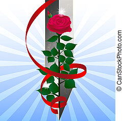 red rose and sword - blue abstract background of a large...