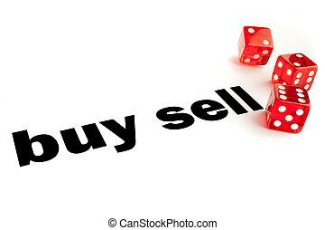 vendere, decisione, comprare, o