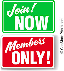 Website Members Only or Join Website signs - Shop window...