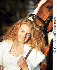 portrait of bride with horse