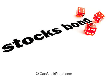 stocks and bond decision - Close up of transparent dice on...