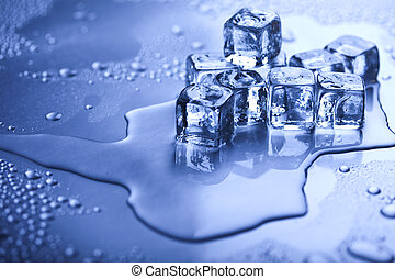 Melting ice cubes - Ice can refer any of the 14 known solid...