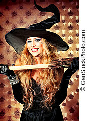 coquette - Charming halloween witch with broom over vintage...