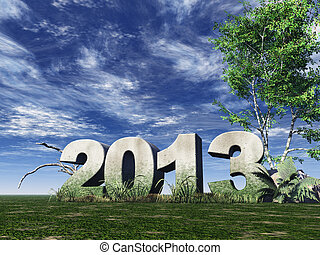 year 2013 - stone monument 2013 under cloudy blue sky - 3d...